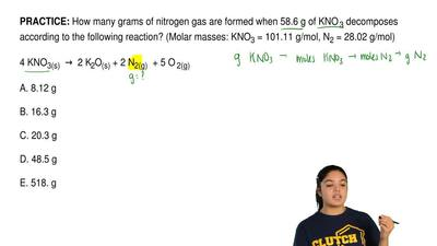 How many grams of nitrogen gas are formed when 58.6 g of KNO 3decomposes acc...