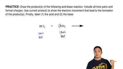 Draw the product(s) of the following acid-base reaction. Include all lone pair...