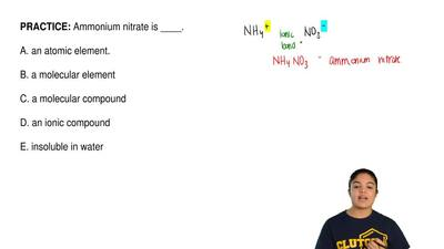 Ammonium nitrate is ____.  A. an atomic element.  B. a molecular element  C. a...