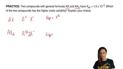 Two compounds with general formulas AX and AX 2 have Ksp = 1.5 x 10 -5. Which ...