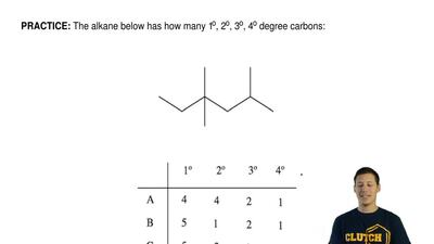 The alkane below has how many 1o, 2o, 3o, 4o degree carbons: ...