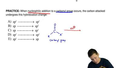When nucleophilic addition to a carbonyl group occurs, the carbon attacked und...