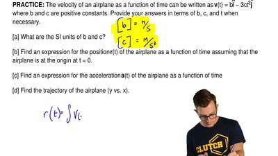 The velocity of an airplane as a function of time can be written as  v(t) = bi...