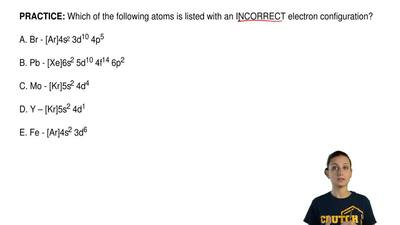 Which of the following atoms is listed with an INCORRECT electron configuratio...