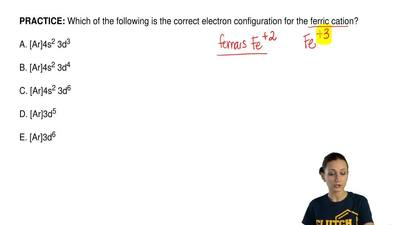 Which of the following is the correct electron configuration for the ferric ca...
