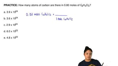 How many atoms of carbon are there in 0.80 moles of C 6H4Cl2?  a. 3.9 x 1024  ...