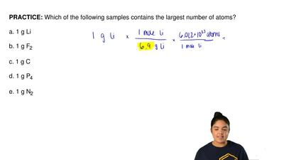 Which of the following samples contains the largest number of atoms?  a. 1 g L...