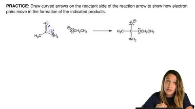 Draw curved arrows on the reactant side of the reaction arrow to show how elec...