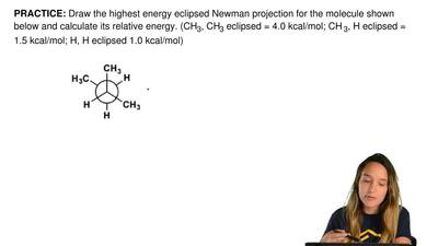 Draw the highest energy eclipsed Newman projection for the molecule shown belo...