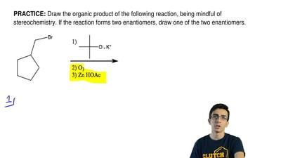 Draw the organic product of the following reaction, being mindful of stereoche...