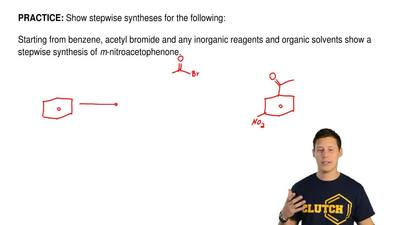 Show stepwise syntheses for the following:  Starting from benzene, acetyl brom...