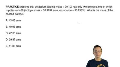Assume that potassium (atomic mass = 39.10) has only two isotopes, one of whic...