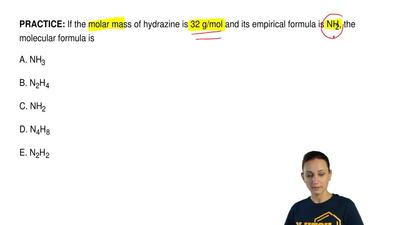 If the molar mass of hydrazine is 32 g/mol and its empirical formula is NH2, t...