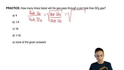 How many times faster will He gas pass through a pin hole than SO2 gas?  a) 4 ...