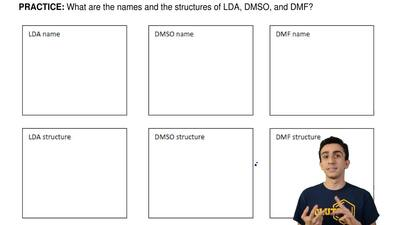 What are the names and the structures of LDA, DMSO, and DMF? ...