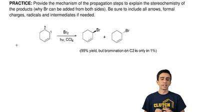 Provide the mechanism of the propagation steps to explain the stereochemistry ...