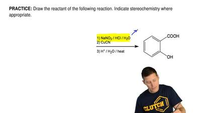 Draw the reactant of the following reaction. Indicate stereochemistry where ap...