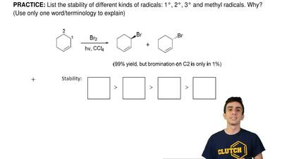 List the stability of different kinds of radicals: 1°, 2°, 3° and methyl radic...