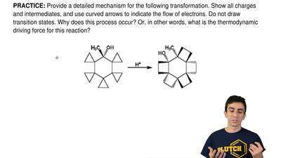 Provide a detailed mechanism for the following transformation. Show all charge...