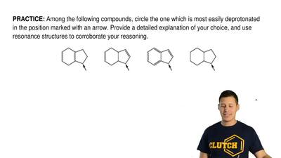 Among the following compounds, circle the one which is most easily deprotonate...