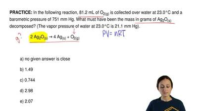 In the following reaction, 81.2 mL of O2(g) is collected over water at 23.0°C...