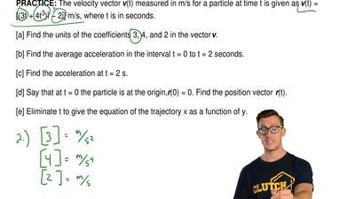 The velocity vector v(t) measured in m/s for a particle at time t is given as ...