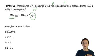 What volume of N2 measured at 735 mm Hg and 260°C, is produced when 70.0 g NaN...