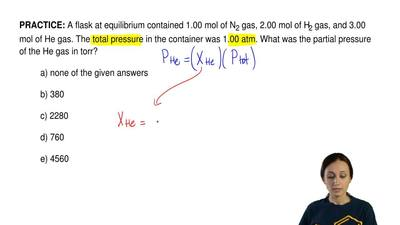 A flask at equilibrium contained 1.00 mol of N 2 gas, 2.00 mol of H2 gas, and ...