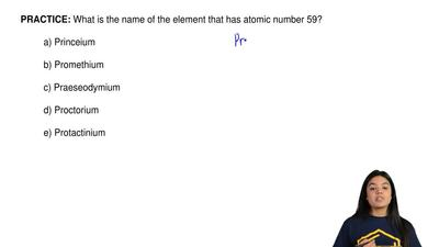 What is the name of the element that has atomic number 59?  a) Princeium  b) P...