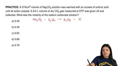 A 574cm3 volume of Na2CO3 solution was warmed with an excess of sulfuric acid ...