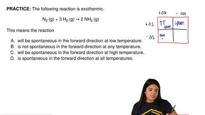 The following reaction is exothermic.                               N2 (g) + 3...
