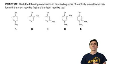 Rank the following compounds in descending order of reactivity toward hydroxid...