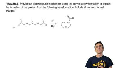 Provide an electron push mechanism using the curved arrow formalism to explain...