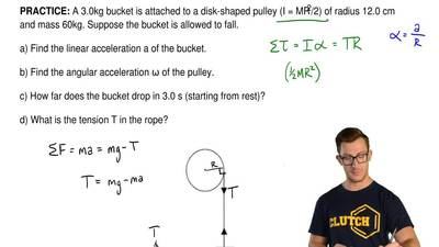 A 3.0kg bucket is attached to a disk-shaped pulley (I = MR2/2) of radius 12....