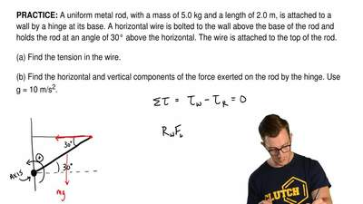 A uniform metal rod, with a mass of 5.0 kg and a length of 2.0 m, is attached ...