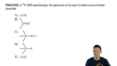 In 13C NMR spectroscopy, the signal due to this type of carbon occurs furthest...