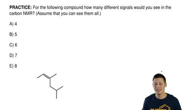 For the following compound how many different signals would you see in the car...