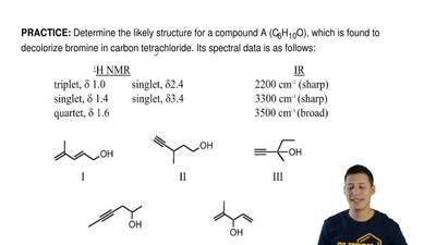 Determine the likely structure for a compound A (C6H10O), which is found to de...