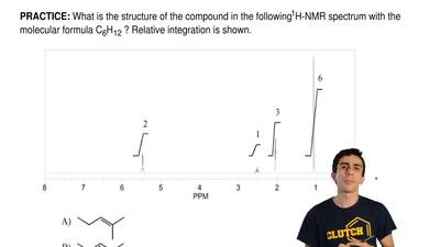 What is the structure of the compound in the following 1H-NMR spectrum with th...