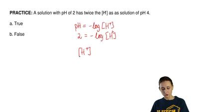A solution with pH of 2 has twice the [H+] as as solution of pH 4.  a. True  b...
