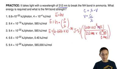 It takes light with a wavelength of 212 nm to break the NH bond in ammonia. Wh...