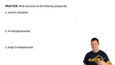 Write structures for the following compounds:  a. succinic anhydride      b....