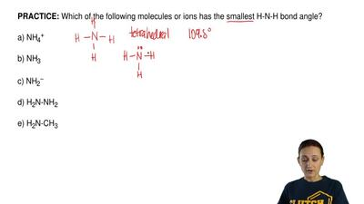 Which of the following molecules or ions has the smallest H-N-H bond angle?  a...