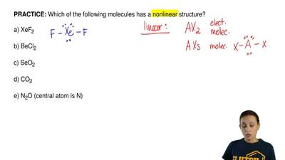 Which of the following molecules has a nonlinear structure?  a) XeF2  b) BeCl2...
