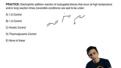 Electrophilic addition reaction of conjugated dienes that occur at high temper...