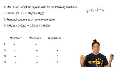 Predict the sign on ΔS° for the following reactions  i. 2 KClO4(s) → 2 KClO3(...