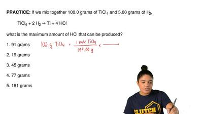 If we mix together 100.0 grams of TiCl 4 and 5.00 grams of H2,  TiCl4 + 2 H2 →...