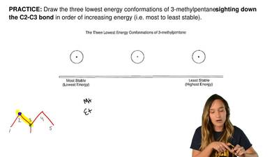 Draw the three lowest energy conformations of 3-methylpentane sighting down th...
