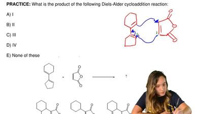 What is the product of the following Diels-Alder cycloaddition reaction:  A) I...