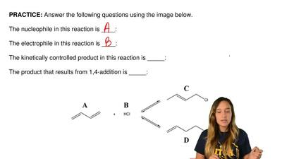 Answer the following questions using the image below.  The nucleophile in this...
